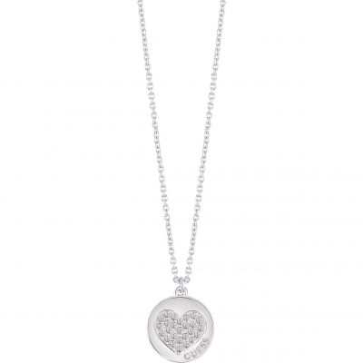 Damen Guess Heart Devotion Halskette versilbert UBN82050