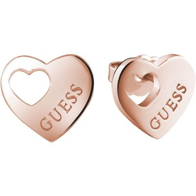 Guess Dames Heart Devotion Earrings Verguld Rose Goud UBE82041