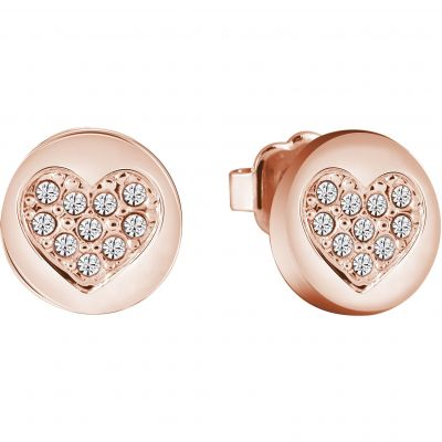 Ladies Guess Heart Devotion Rose Gold Earrings