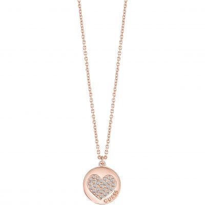 Ladies Guess Rose Gold Plated Heart Devotion Necklace UBN82052