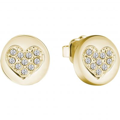 Ladies Guess Gold Plated Heart Devotion Earrings UBE82043