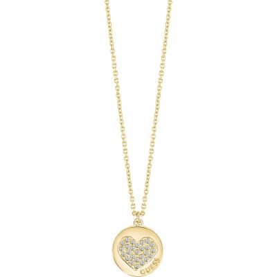 Ladies Guess Gold Plated Heart Devotion Necklace UBN82051