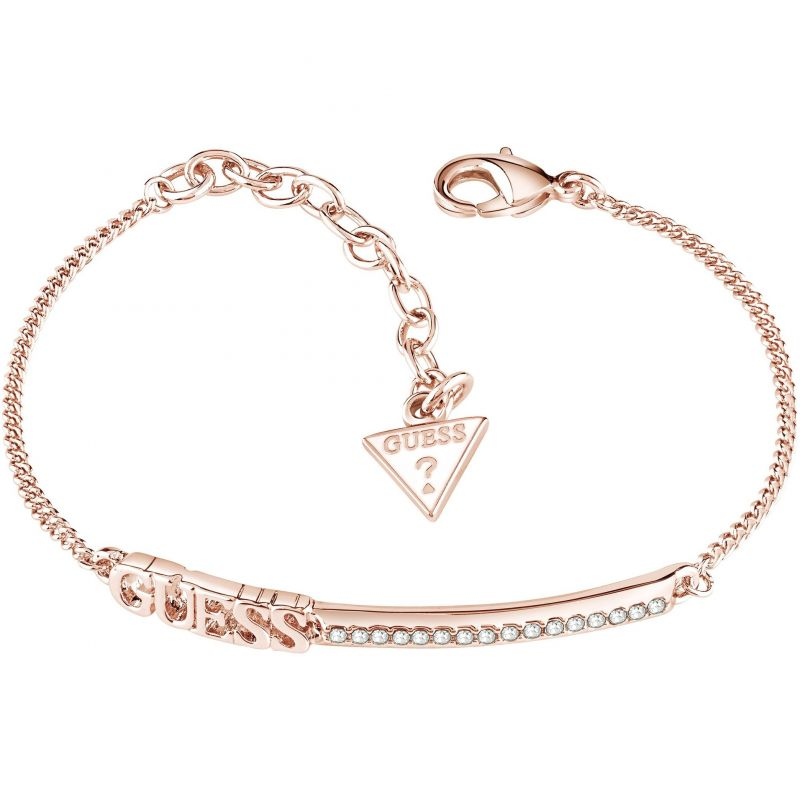Ladies Guess Rose Gold Plated Linear Bracelet UBB82039-L