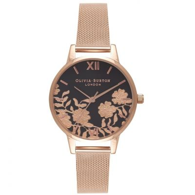 Lace Detail Black & Rose Gold Mesh Watch