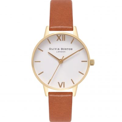 White Dial Gold & Tan Watch