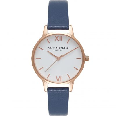 White Dial Rose Gold & Navy Watch