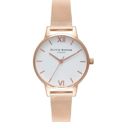 Olivia Burton White Dial Mesh White Dial Mesh Silver & Rose Gold Damenuhr in Rosegold OB16MDW01