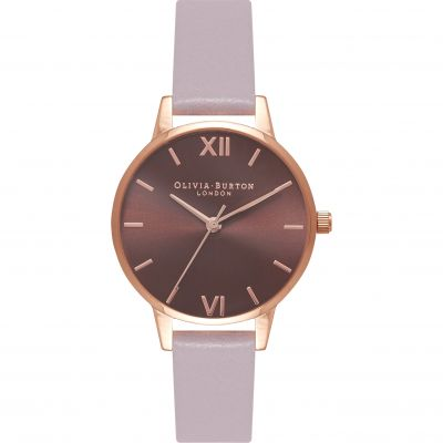 Chocolate Dial Grey Lilac & Rose Gold Watch