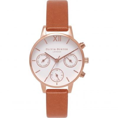 Olivia Burton White Dial Big Dial White Dial Big Dial Rose Gold & Tan Damenchronograph in Beige OB16CGM64