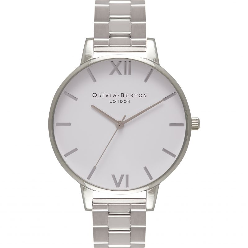 Big White Dial & Silver Bracelet Watch