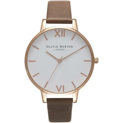 Montre Femme Olivia Burton White Dial Big Dial Rose Gold & Brown OB16BDW20
