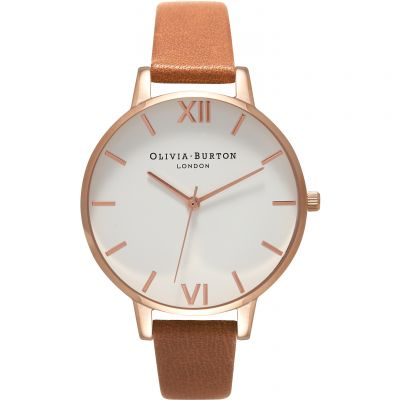 Montre Femme Olivia Burton White Dial Big Dial Rose Gold & Tan OB16BDW19