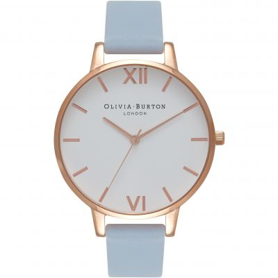 Montre Femme Olivia Burton White Dial Big Dial Rose Gold & Chalk Blue OB16BDW18