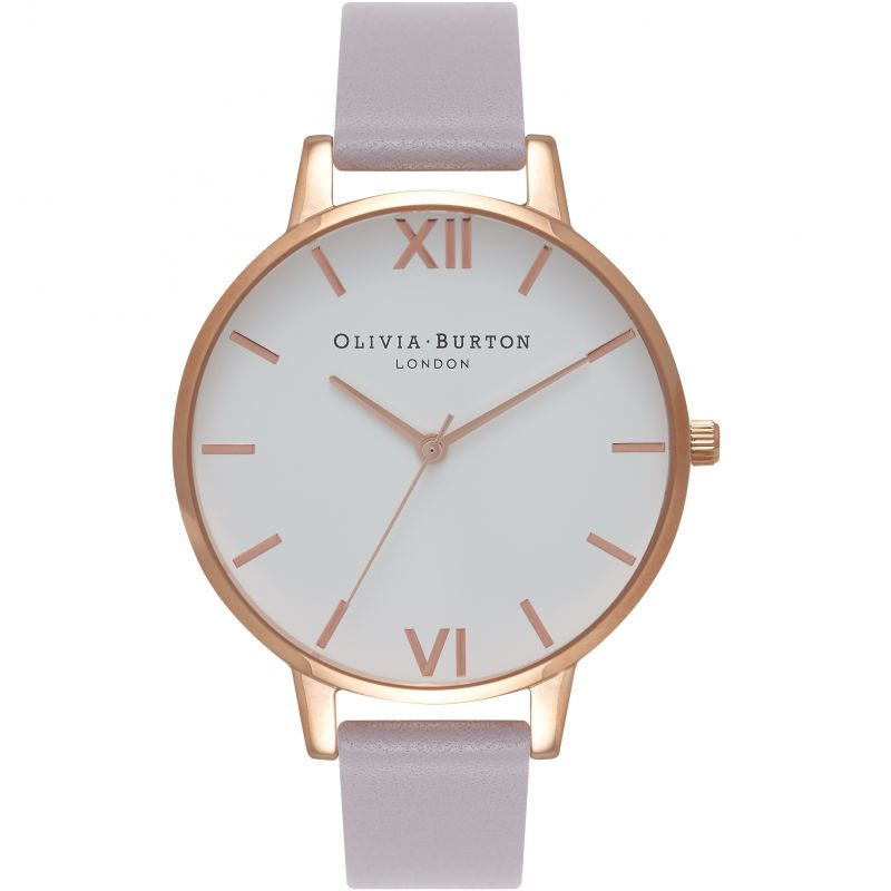 White Dial Grey Lilac & Rose Gold Watch