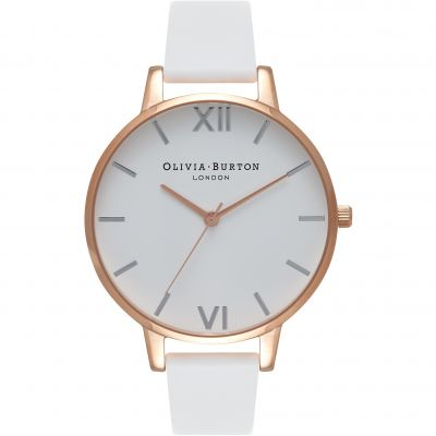 Montre Femme Olivia Burton White Dial Big Dial Rose Gold & White OB16BDW11