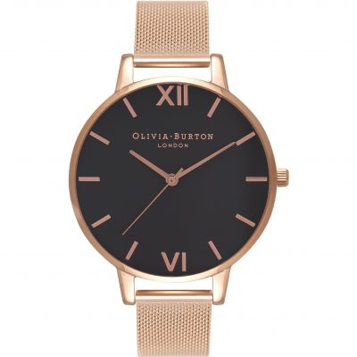 Black Dial Rose Gold Mesh Watch
