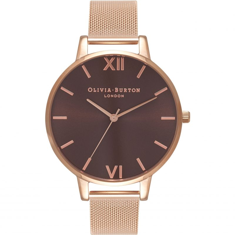 Chocolate Dial Rose Gold Mesh Watch Watch
