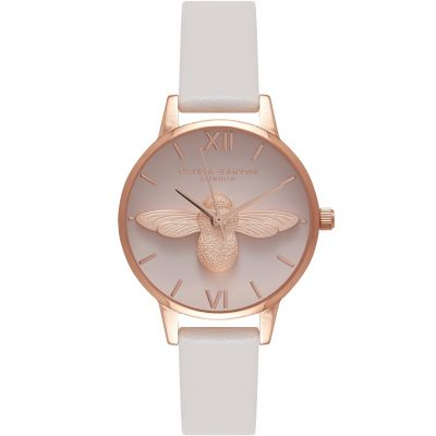 Olivia Burton Queen Bee Queen Bee Gold & Blush Damenuhr in Grauweiß OB16AM85