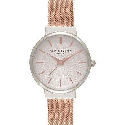The Hackney Silver Rose Gold Mesh Watch