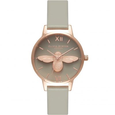 Olivia Burton 3D Bee 3D Bee Rose Gold & Grey Damenuhr in Grau OB15AM77