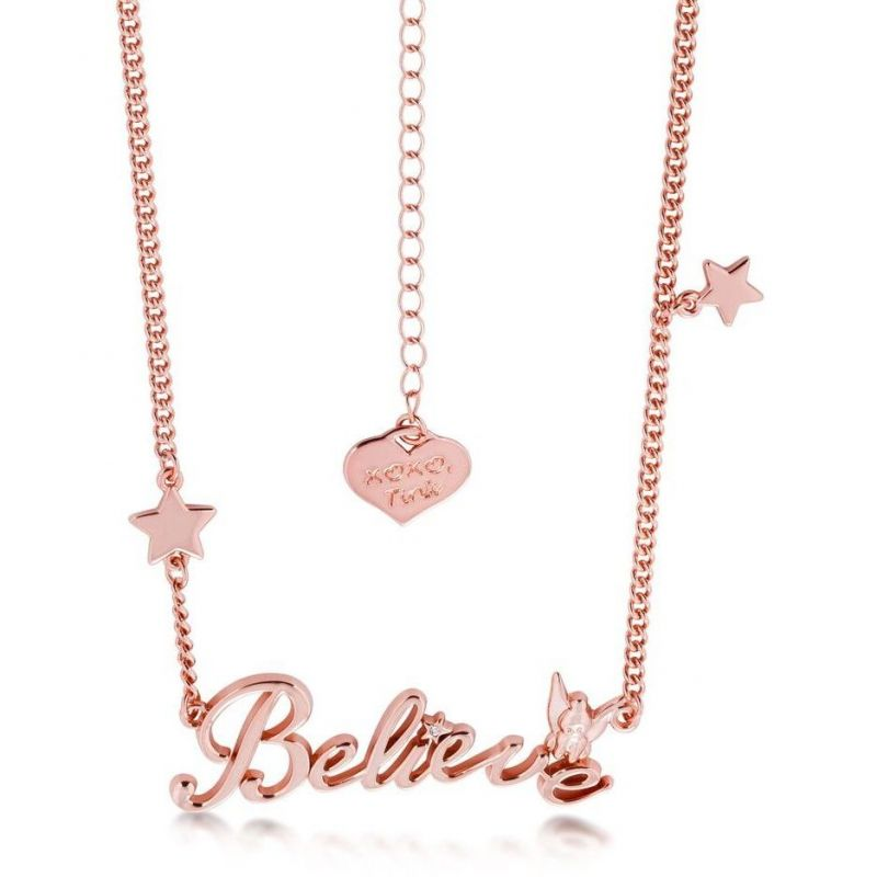 Ladies Disney Couture PVD rose plating Tinkerbell Believe Message Necklace DRN398