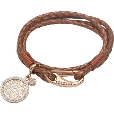 Unique Dam & Leather Crystal Charm Bracelet Rostfritt stål B297CO/19CM