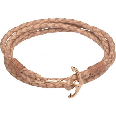 Biżuteria damska Unique & Co & Leather Anchor Clasp Bracelet B312NA/19CM