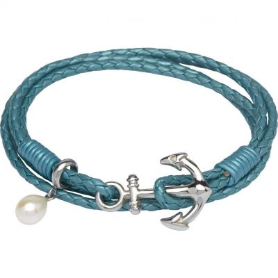 Biżuteria damska Unique & Co & Leather Anchor Clasp & Pearl Charm Bracelet B313TT/19CM