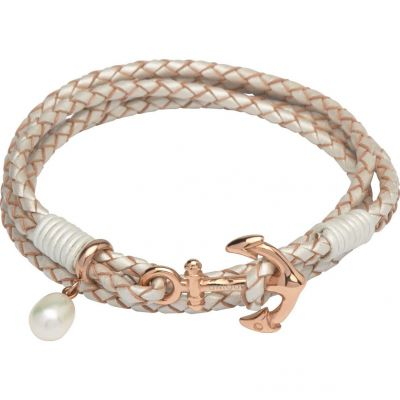 Unique Dam & Leather Anchor Clasp & Pearl Charm Bracelet Rostfritt stål B314PE/19CM