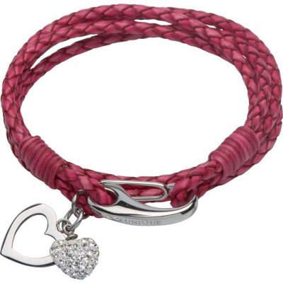 Ladies Unique & Co Stainless Steel & Leather Crystal Heart Charm Bracelet B315ACY/19CM