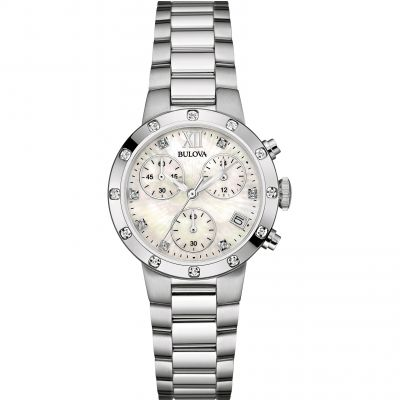 Ladies Bulova Diamond Gallery Chronograph Diamond Watch 96R202