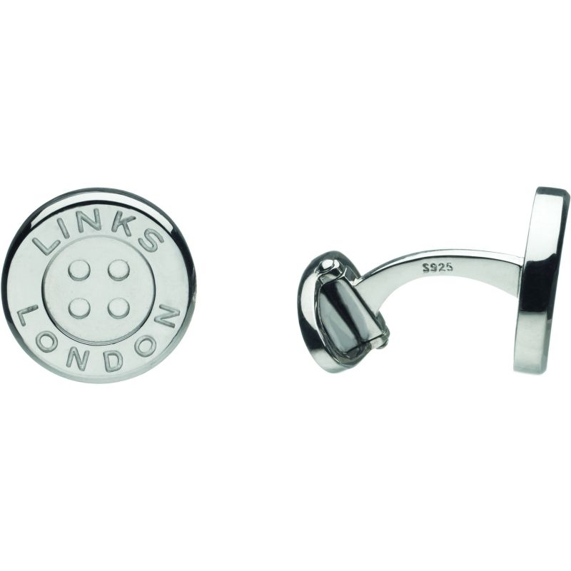 Mens Links Of London Sterling Silver Button T-Bar Cufflinks 2516.0257