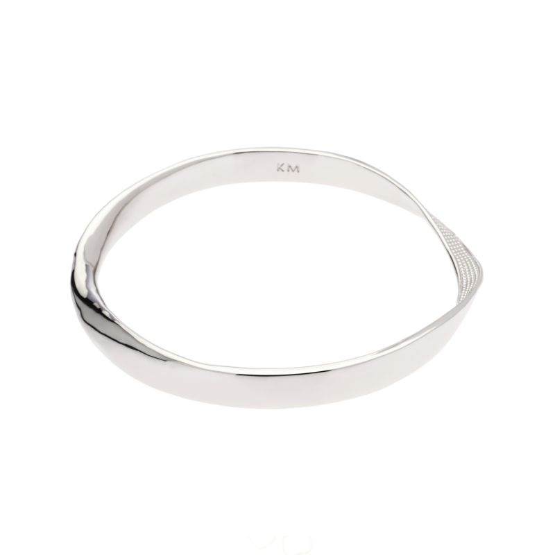 Ladies Karen Millen Silver Plated Textured Twist Narrow Bangle KMJ898-01-03