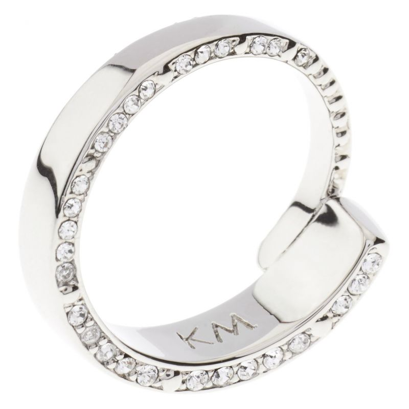 Ladies Karen Millen Silver Plated Contoured Crystal Ring SM KMJ934-01-02SM