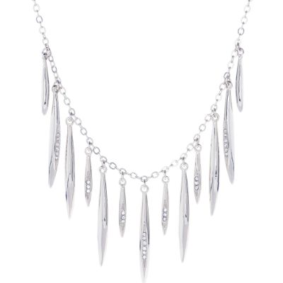 Ladies Karen Millen Silver Plated Flow Fringe Crystal Necklace KMJ936-01-02