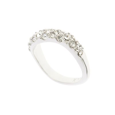 Karen Millen Dames Pave Crystal Wave Ring ML Verguld Zilver KMJ950-01-02ML
