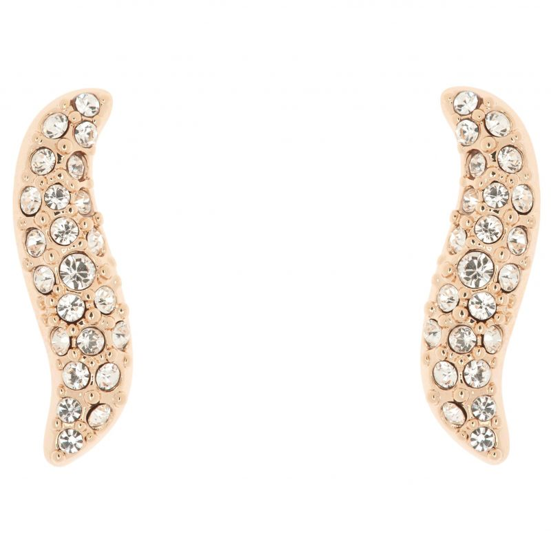 Ladies Karen Millen Rose Gold Plated Pave Crystal Wave Stud Earring KMJ951-24-02