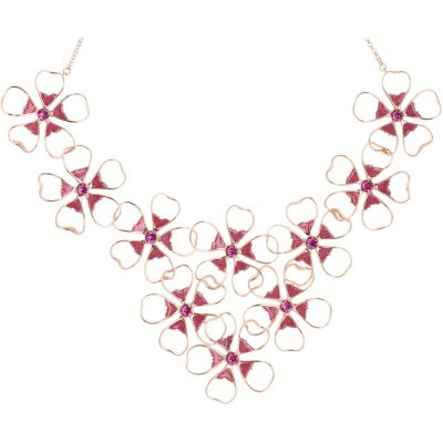 Ted Baker Dames Linndy Enamel Flower Cluster Necklace Verguld Rose Goud TBJ1239-24-73