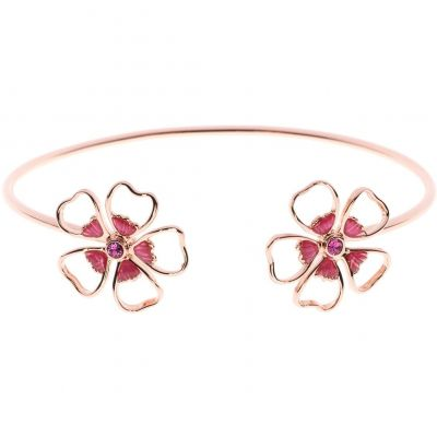 Ladies Ted Baker Rose Gold Plated Leveni Enamel Double Flower Ultrafine Cuff TBJ1242-24-73