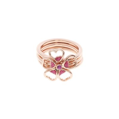 Ted Baker Dam Leotie Enamel Flower Stacking Ring ML Roséguldspläterad TBJ1243-24-73ML