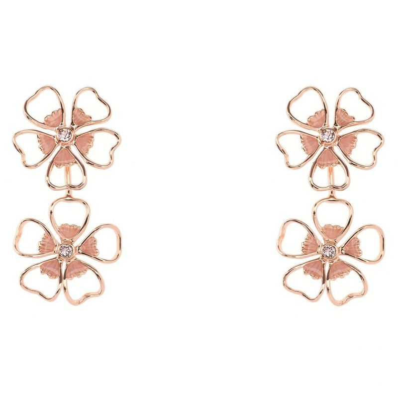 Ladies Ted Baker Gold Plated Lorel Enamel Flower Double Earring TBJ1244-24-13