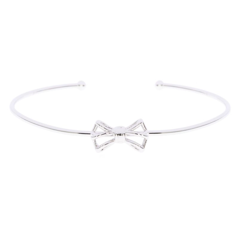 Ladies Ted Baker Silver Plated Graciaa Tiny Geometric Bow Ultrafine Cuff TBJ1246-01-03