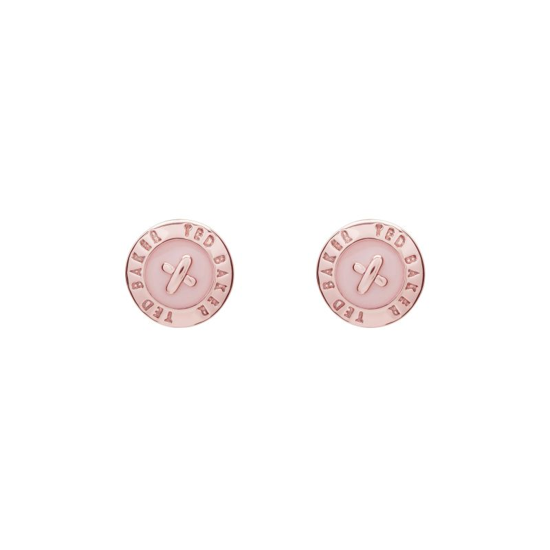 Ladies Ted Baker Rose Gold Plated Eisley Enamel Mini Button Earring TBJ1266-24-134