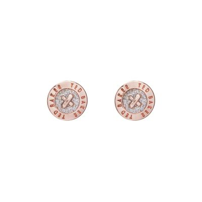 Ladies Ted Baker Rose Gold Plated Eisley Enamel Mini Button Earring TBJ1266-24-138