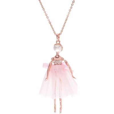 Ladies Ted Baker Rose Gold Plated Bijou Pave Ballerina Pendant TBJ1324-24-13