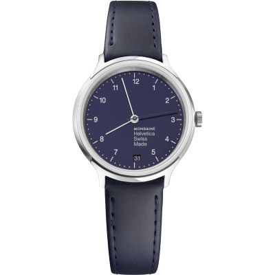 Mondaine Helvetica No1 Regular 33mm Damenuhr in Blau MH1R1240LD