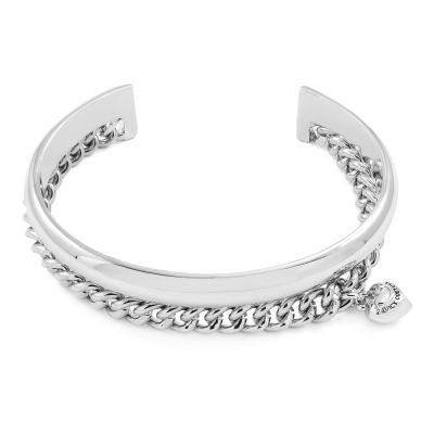 Ladies Juicy Couture Stainless Steel Heart Charm And Chain Cuff WJW1085-040-U