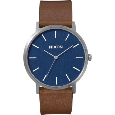 Nixon The Porter Leather Herrklocka Brun A1058-879