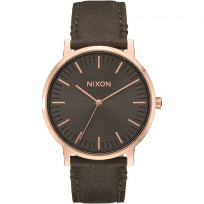 Nixon The Porter Leather Herrklocka Brun A1058-2441