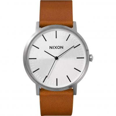 Nixon The Porter Leather Herrenuhr in Braun A1058-2442
